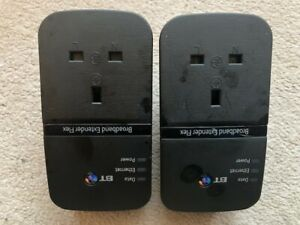2 x BT Broadband Extender Flex 500 Passthrough Powerline Adapters + 2 x Ethernet