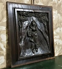 Brittany breton scene wood carving panel Antique French architectural salvage