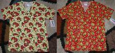 2 pc Christmas Scrub Top Bottom Pockets Poinsettia & Patch Leaves Print Sz Xs