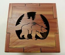 Grizzly Bear Laser Cut Cedar Box - Made in USA -