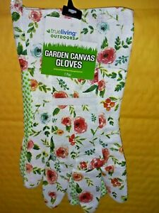 True Living Outdoors Red/Blue Rose Floral Canvas Garden Gloves Grn Rubber Grips