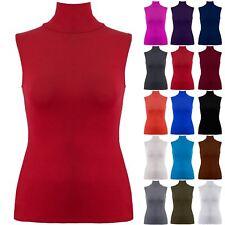 Plus Size Womens Polo Turtle High Neck T Shirt Ladies Bodycon Vest Plain Top New