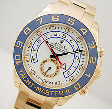 Rolex YACHTMASTER II 116688 Mens 18K Yellow Gold Ceramic Bezel Blue Hands 44MM