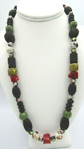"""Stunning Red Coral, Volcanic Rock & Hand Painted Ceramic Beads Necklace 23"""""""
