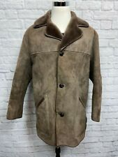 OAKLEAF (42R) Men's Brown Genuine Suede Leather Coat Jacket w/ Faux Fur Lining