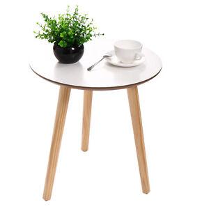 Modern Round Coffee Tea Table Wood Furniture Home Decor  Sofa Side Table White