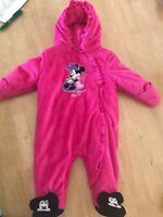 disney Minnie Mouse Pink Baby Snow Outfit Size 3-6 Months Cute One Piece