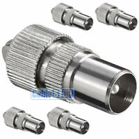 5 x MALE COAX PLUG TV AERIAL CONNECTOR COAXIAL ADAPTER