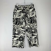 Chico's Womens Capri Pants Cropped Stretch Hawaiian Print Black Sz 1.5 Medium 10