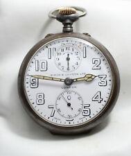"""ZENITH Allarme Orologio da taschino 14J cal. ZENITH 19""""' Réveil circa 1920' Gunmetal caso"""