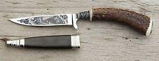 Trachtenmesser Messer Hirschhorngriff Ätzung STEINBOCK mit Berge + Lederscheide