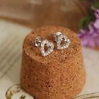 Fashion Women Love Heart Crystal Silver Ear Stud Earrings for Lady Party Wedding