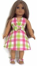 Plaid Halter Dress & Sandals Shoes made for 18 inch American Girl Doll Clothes