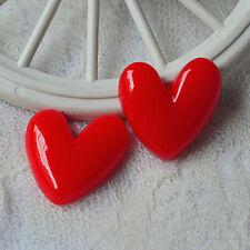 10Pcs Red Heart Cartoon Resin Flatback Embellishment Craft Decoration DIY