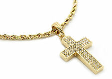 """Mens 14k Gold Plated Thick Cz Cross Pendant Hip-Hop 24"""" Rope Necklace Chain M3"""