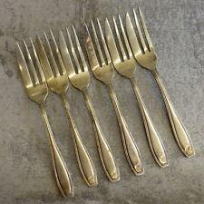6 Vintage EPNS A1 Cake Forks Silver Plated Tarnished Aged Worn Cutlery Flatware