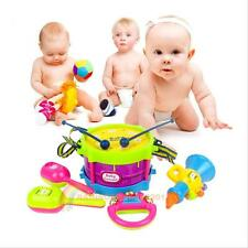 5 pcs Kids Baby Musical Educational Toy Set Gift with Drum Hammer Rattle Trumpet