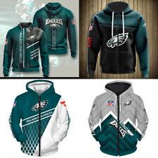 Philadelphia Eagles Hoodie Men Casual Jacket Full Zip Hooded Football Sweatshirt