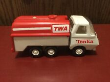 """Vintage Tonka Mini TWA Tanker Fuel Delivery Truck Red And White USA 1970's 5.5"""""""