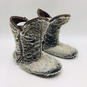 Dearfoams Plush Faux Fur Bootie Slipper Size 7-8 Grey