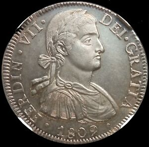 MEXICO 1809 MO TH ☆ SILVER  8 REALES ☆ NGC MINT STATE - 62 ☆ RARE ☆