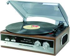 Soundmaster PL 186 HOLZ PL 186 H Eiche Retro Plattenspieler mit UKW Radio NEU