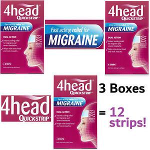 3x 4head Quickstrip Migraine Relief Gel Strips Forehead Headache DUAL ACTION (4)