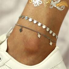 Foot Jewelry Vintage Ankle Bracelets Gift 2Pcs Women Anklets Sequins Set Beach