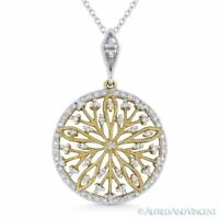 0.22ct Diamond 14k Yellow & White Gold Flower Charm Pendant with Chain Necklace