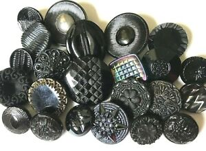 Small Black Glass Vintage Buttons 716 x 516 Made in Czecho-Slovakia Self Shank Doll Buttons Set of 12