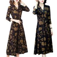 Damen Blumen V-Ausschnitt Wickelkleid Herbst Langarm Freizeitkleid Partykleid