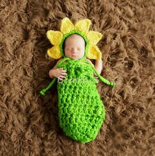 Newborn Baby Crochet Knit Costume Sunflower Photography Prop Hat Sleeping Sack