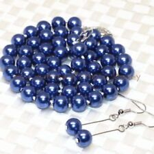 """8/10mm Dark Blue Sea Shell Pearl necklaceS chain earring 18"""""""