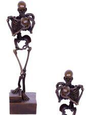 Bronzefigur Skulptur Art Deco Skelett Auf Buch Memento Mori R. I. P.  29 cm