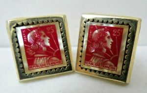 Vintage Republique Française Red Mother of Pearl French Postage Stamp Cufflinks