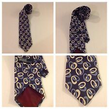 POLO RALPH LAUREN Dark Blue w Circle Geometric Neat Silk Neck Tie - USA