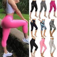 Women 3/4 Yoga Pants Anti-Cellulite Capri Leggings Gym Fitness Workout Trousers
