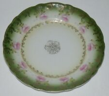 "Vintage HP Saucer C.T. Germany GERMAN Green Pink Gold 6 1/4"" Plate"
