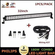 Philips 32inch 180W LED Light Bar Combo Beam Off Road JEEP ATV With Wiring Kit
