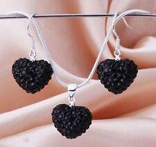 Black crystal heart pendant earring necklace women jewellery sets.