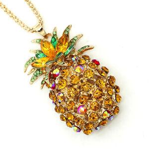 Betsey Johnson Golden Crystal Rhinestone Pineapple Pendant Long Chain Necklace