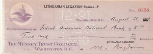 LITHUANIAN LEGATION CHEQUE 1929