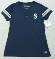 New Seattle Mariners MLB Blue V-Neck T-Shirt Short Sleeve Solid Tee Top Women's