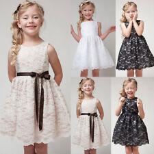 Girls Kids Princess leeveless Hollow Out Flower Lace Dress Party Tutu Dress 3-11