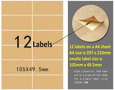 Blank Kraft Label Sticker 12 Labels In a Sheet  For Laser & Inkjet Printer 50PCS