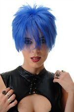 Peluca de Mujer Peluca Corto Cardado Salvajes Mechas 80er Wave Punk Azul