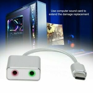 USB Type C to 3.5mm Hole mic headphone Stereo Headset Sound Card Audio Adapter