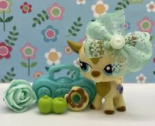 Authentic Littlest Pet Shop # 1316 Tan Brown Goat Teal Eyes w Accessories