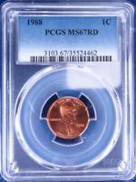 1988-P Lincoln Memorial Cent PCGS MS67RD ET2217A/BR