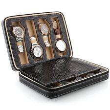 Nuevo Estilo Cuero Sintético Negro Reloj de caja de almacenamiento de 8 rejillas Reloj Estuche Caja De Presentación